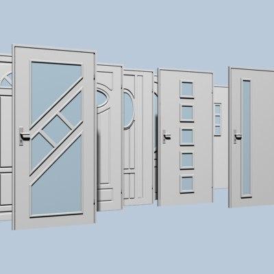 3d doors set architectural model