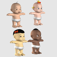 3d 3ds babies rigged character