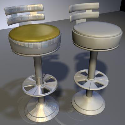 chrome stool bar 02 3d max