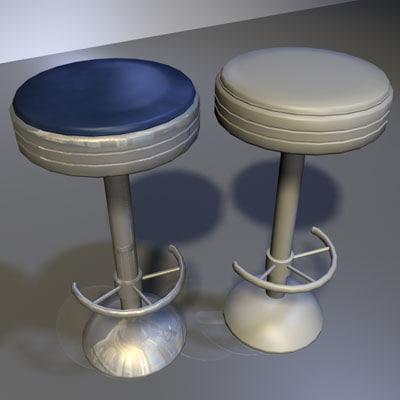 3d model chrome bar stool 03