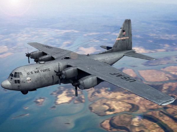 3d c-130 hercules military transport