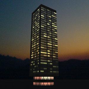 3d building rio night