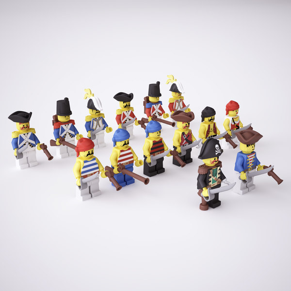 rigged lego pirate minifigs 3d 3ds