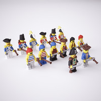 Rigged LEGO Minifig Pirate Set