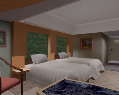 3d model of hotel room