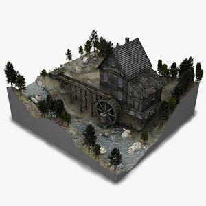 watermill scene 3d model