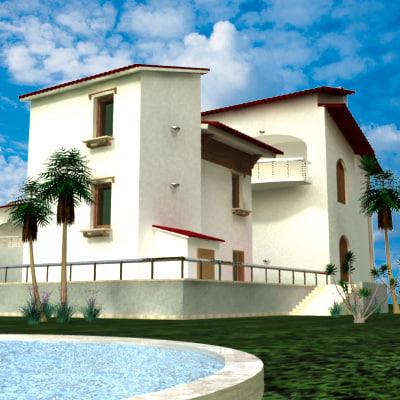 3d model villa modelled