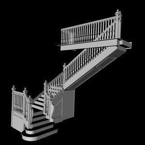 old wooden stairs 3d model