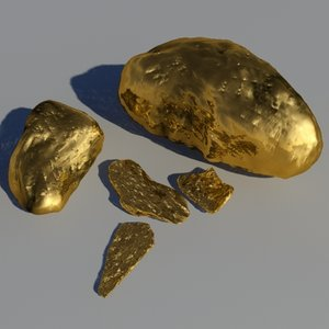 3dsmax gold nuggets object -
