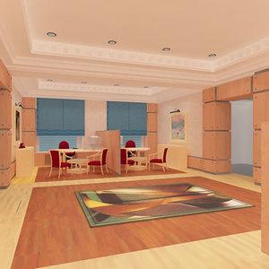 hall lounge interior 3d model