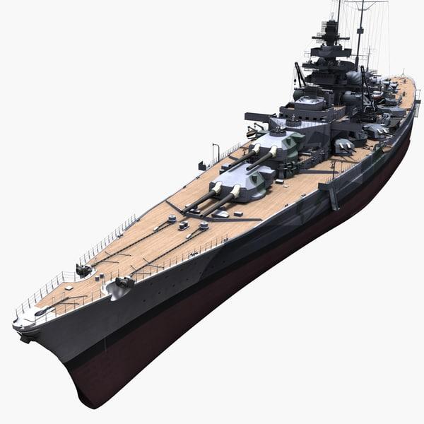 3d model tirpitz ship