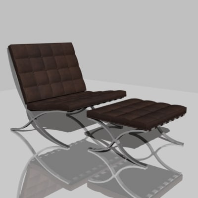barcelona chair 3d 3ds