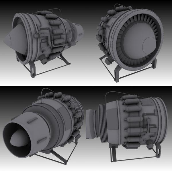 3d hi-poly jet engine