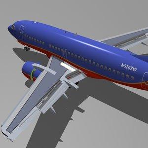3d b 737-500 southwest