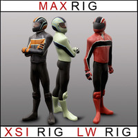rigged lightwave biker case 3d max