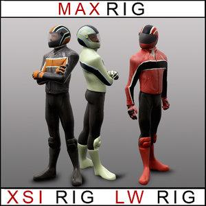 rigged lightwave biker case 3d max