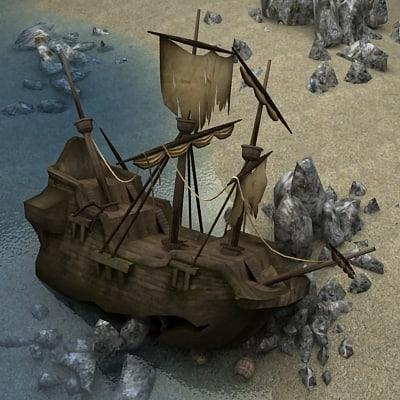 3d shipwreck barrel