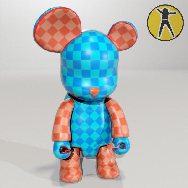 3d bear vinyl toy paintable model