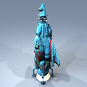 3d retro styled rocketship