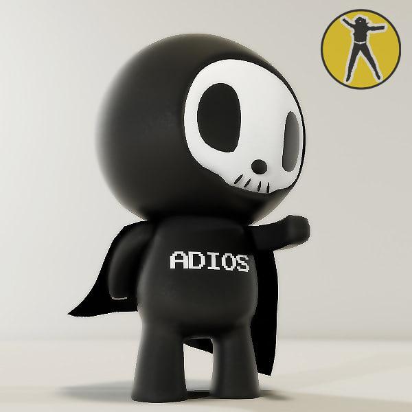 vinyl toy adios 3d max