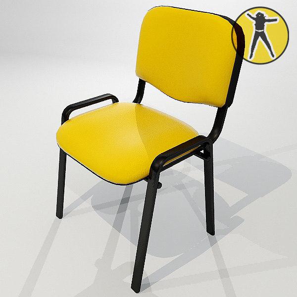 chair hair offices 3d max