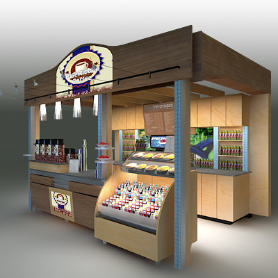 3d coffee kiosk model for Food bar 3d model