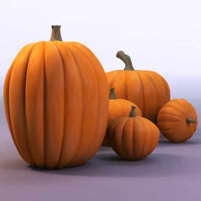 3d group pumpkins