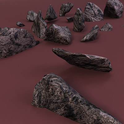 sharp rocks shattered 3d model