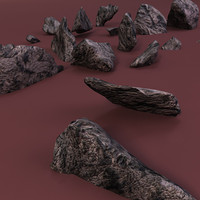 sharp rocks shattered 3d model