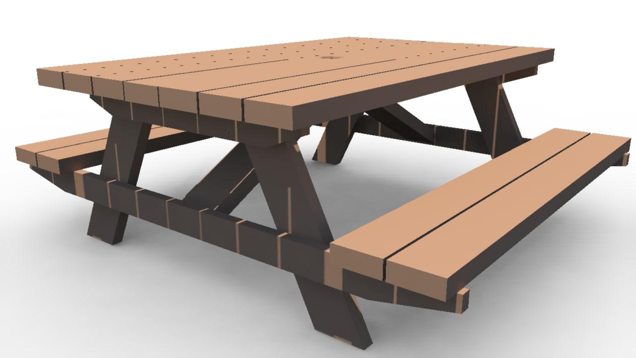 3d model park table