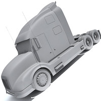 semi truck transport 3d model