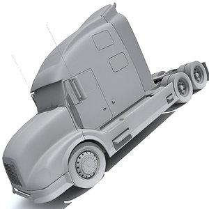 semi truck transport 3d model
