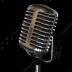 3d obj classic microphone