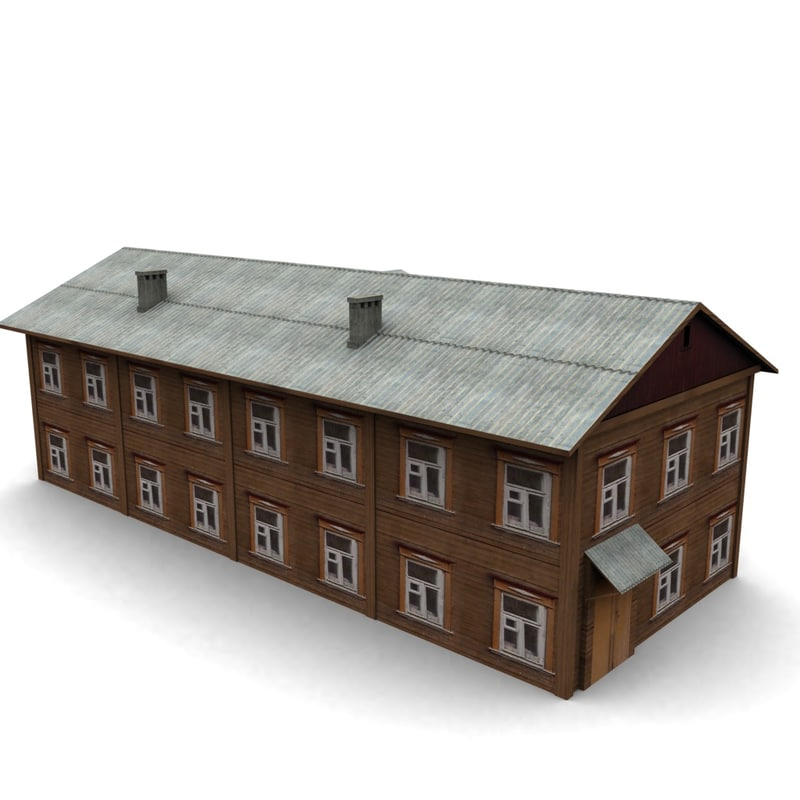 3d old wood house model