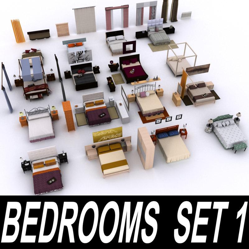 3dsmax bedroom - set 1
