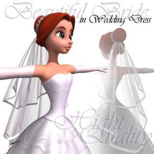 3d model beautiful bride girl