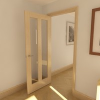 2 panel glazed door 3d model