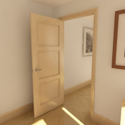 3d model 3 panel solid door