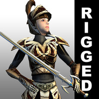 rigged fantasy warrior woman 3d 3ds