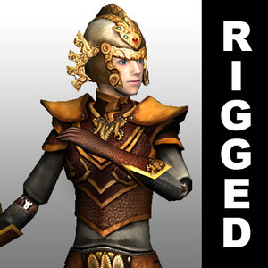 rigged leather armor character 3d 3ds