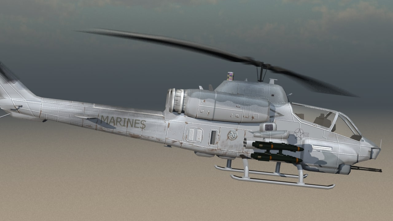 ah-1w super cobra marines 3d model