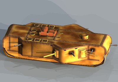 3ds max steampunked k-wagen tank