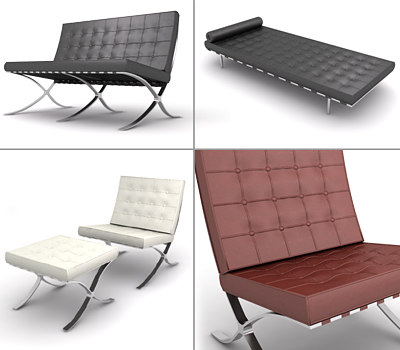 barcelona chair ottoman day bed 3d model