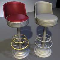 chrome bar stool 05 3d dxf