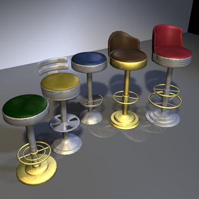 3d model bar stool 01