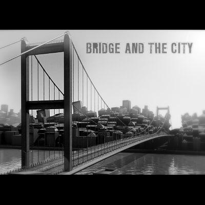 3d suspension bridge city model