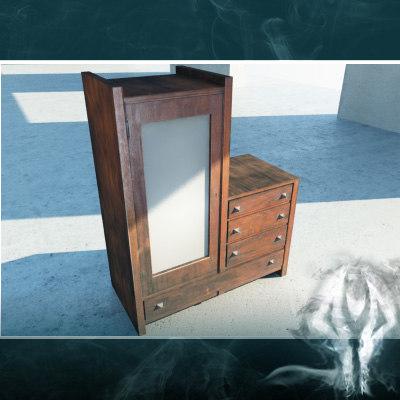 3d model antique mirror cupboard