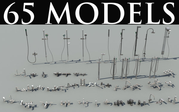 65 faucets shower heads 3d model