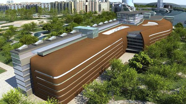 3d 3ds scandinavian city building office