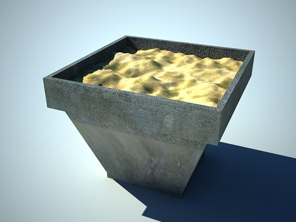 3ds max planter flowers small